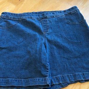 Terra & Sky Womans Size Pull-On Denim Shorts 1X